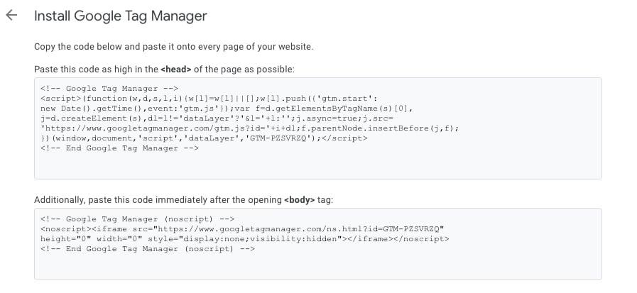 Kod i Google Tag Manager