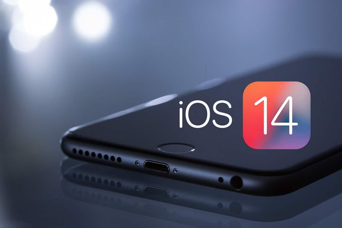 ios 14 logo on black mobile